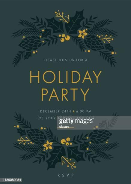 urlaub party einladung mit kranz. - einladungskarte stock-grafiken, -clipart, -cartoons und -symbole