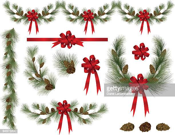 holiday pine and spruce elements clipart with red bows - christmas wreath stock illustrations