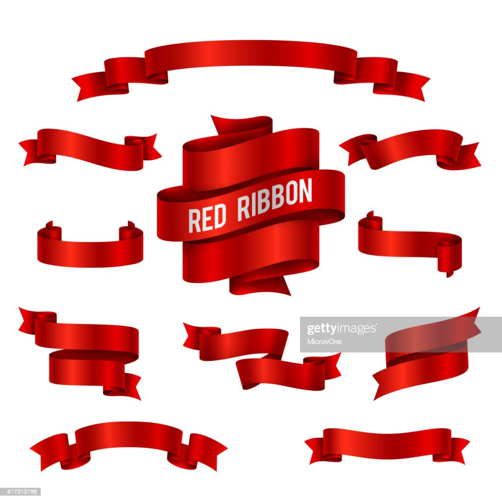 Holiday red glossy ribbon banners vector set for congratulations decoration