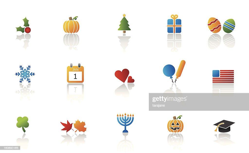 Holiday representation icon set