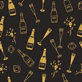 Holiday seamless pattern with cham and extracted cork.