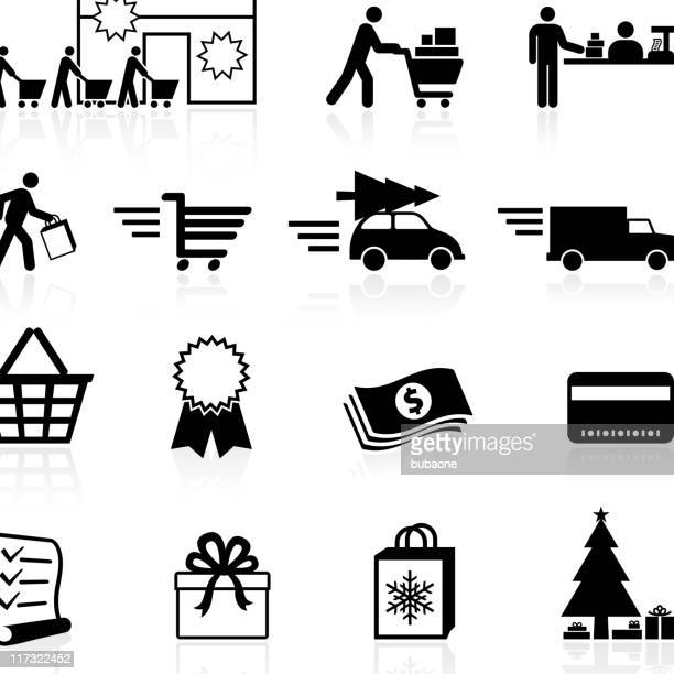 holiday shopping season black and white vector icon set - checkout stock illustrations, clip art, cartoons, & icons