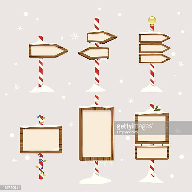 holiday signs - blizzard stock illustrations