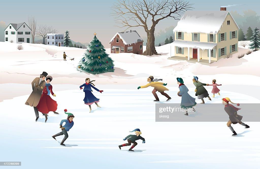 Holiday Skaters : stock illustration