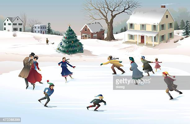 holiday skaters - ice skating stock illustrations, clip art, cartoons, & icons