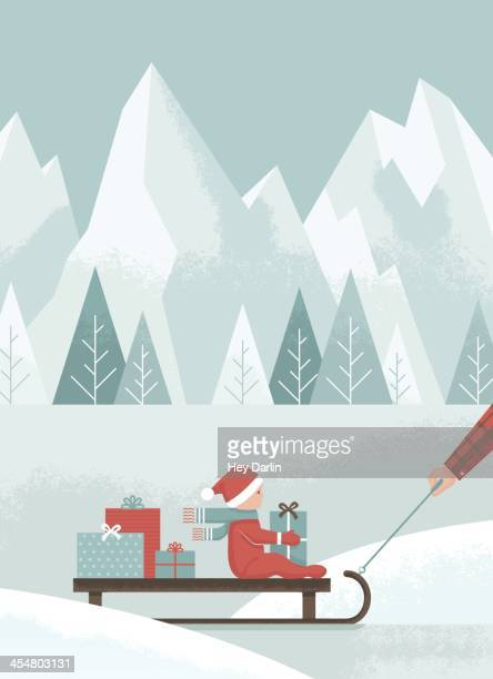 holiday sled ride - tobogganing stock illustrations, clip art, cartoons, & icons