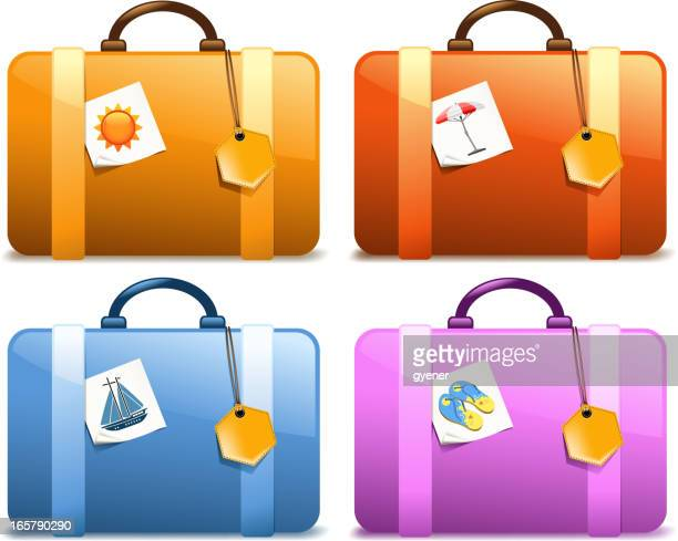 holiday suitcase - luggage tag stock illustrations, clip art, cartoons, & icons