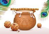 Holiday Symbols Krishna Janmashtami. Pot of yoghurt, peacock feather, flute