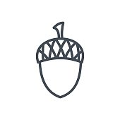 Holiday Thanksgiving Day Line Icon Acorn