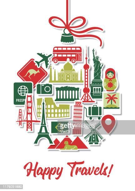 holiday travel christmas tree ornament icons landmarks vacation stickers - travel destinations stock illustrations