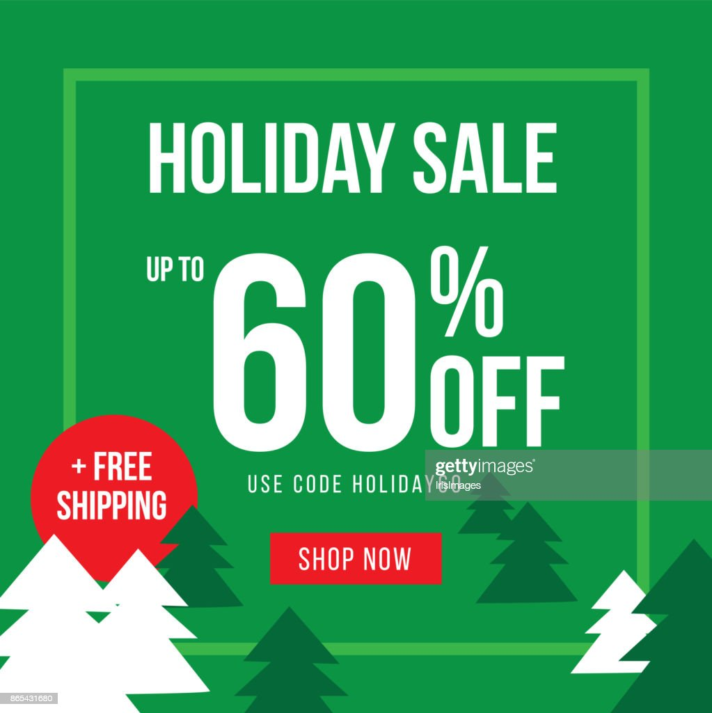 Holiday Up To 60% Off Sale Advertisement Template Vector Illustration