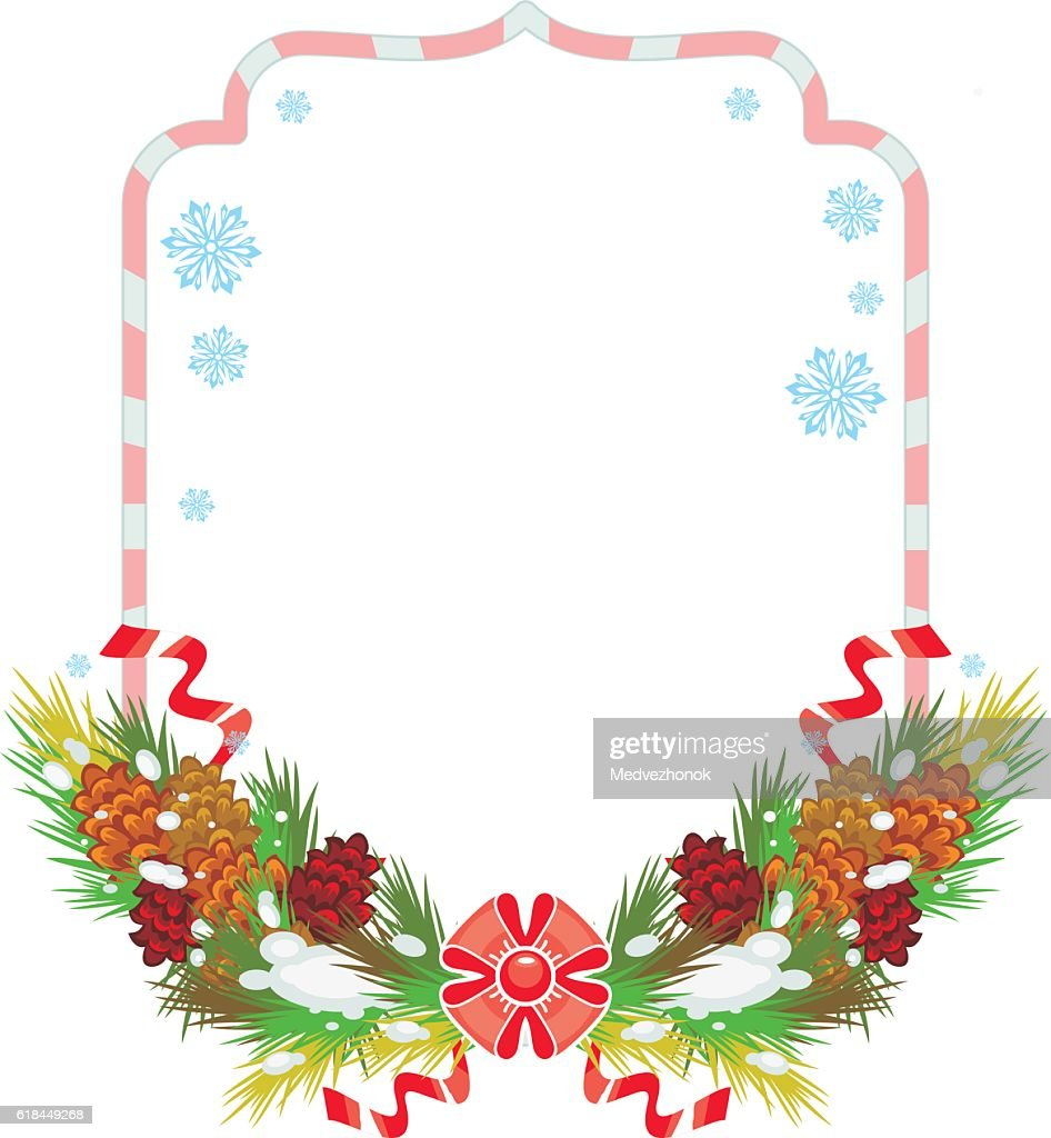 Holiday winter frame with pine branch