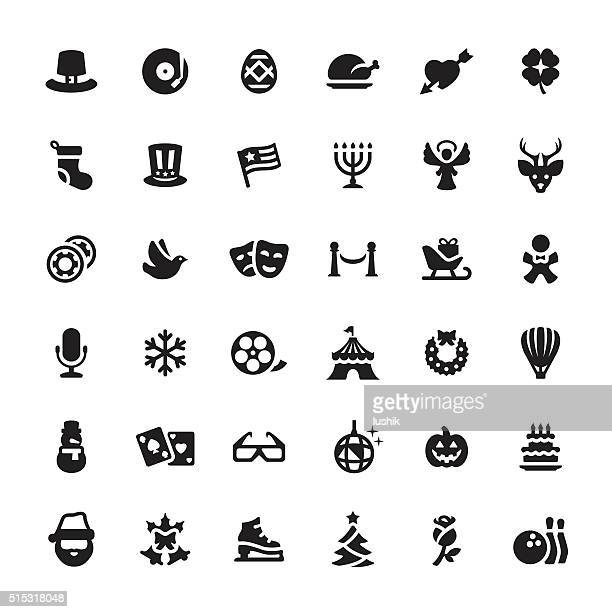 holidays and celebrations vector symbols and icons - national holiday stock illustrations, clip art, cartoons, & icons