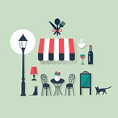 holidays and vacation flat vector french icons for bistro