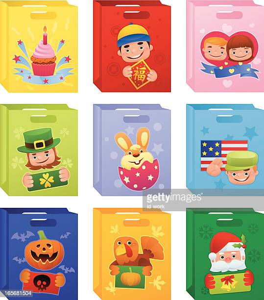 ilustraciones, imágenes clip art, dibujos animados e iconos de stock de vacaciones bolsas de - roscadepascua