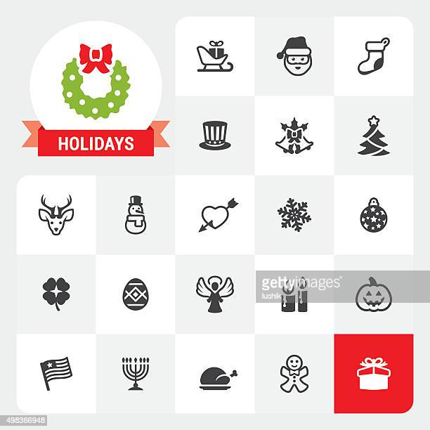 holidays base vector icons and label - national holiday stock illustrations, clip art, cartoons, & icons