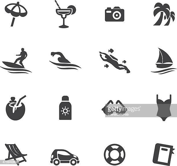 holidays beach silhouette icons - coconut palm tree stock illustrations, clip art, cartoons, & icons