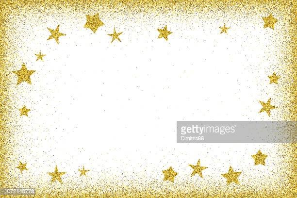 Holidays card template - Gold glitter frame with glitter stars
