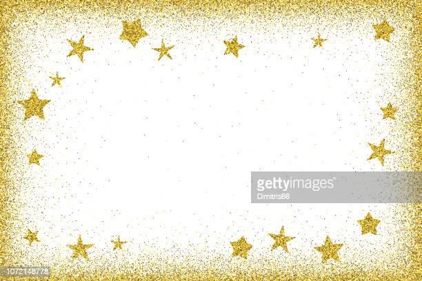 urlaub kartenvorlage - sterne gold glitzer rahmen mit glitzer - brief dokument stock-grafiken, -clipart, -cartoons und -symbole