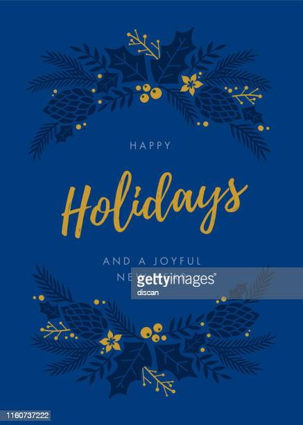 holidays card with wreath. - greeting card stock illustrations