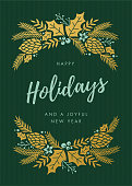 Holidays Card with wreath.