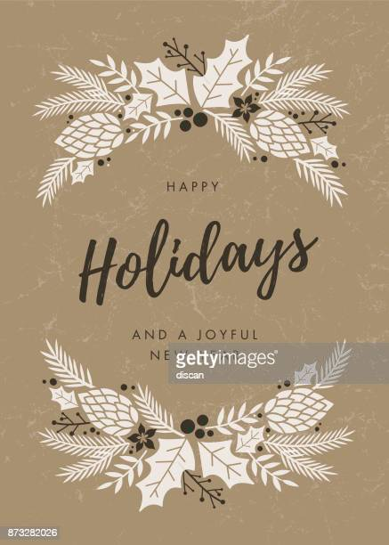 holidays card with wreath. - vertical stock illustrations