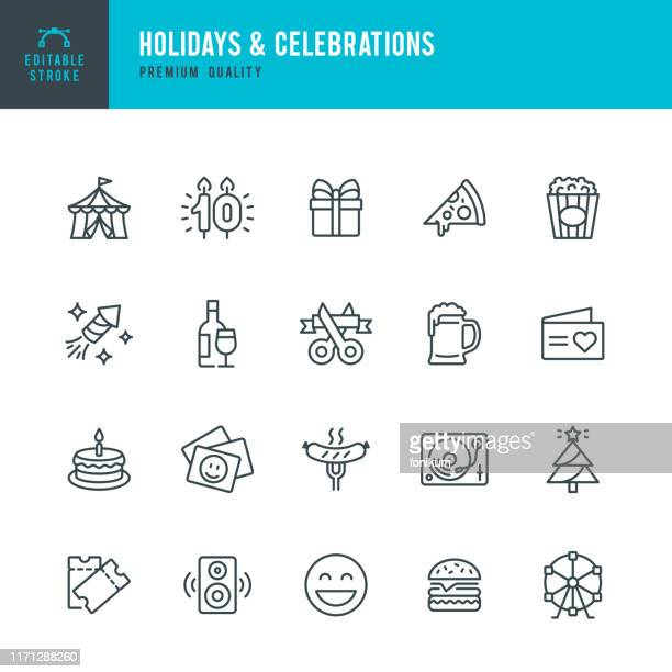 holidays & celebrations - vector line icon set. editable stroke. pixel perfect. set contains such icons as party, circus, picnic, event, christmas, fireworks. - party social event stock illustrations