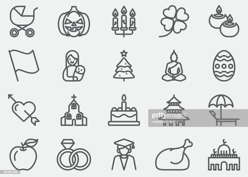 Holidays Event Calendar Line Icons