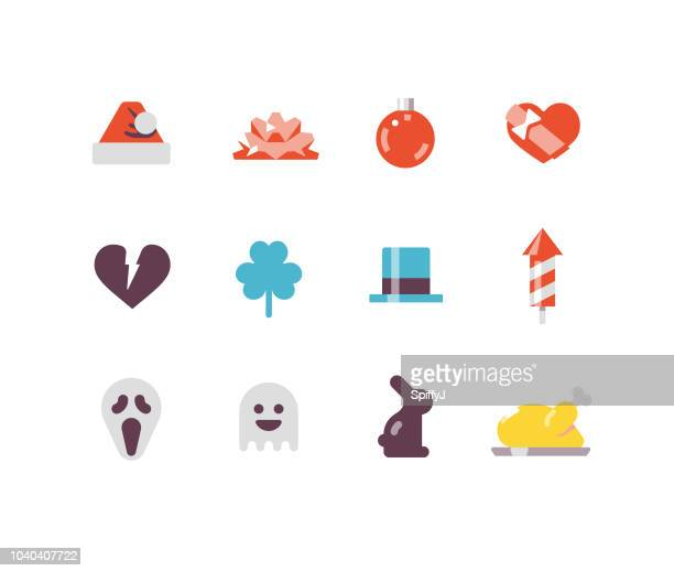 holidays flat icons - easter bunny stock illustrations