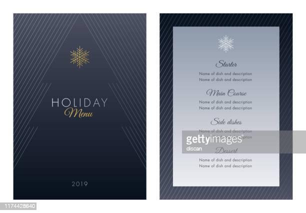 illustrations, cliparts, dessins animés et icônes de modèle de menu de vacances. - menu