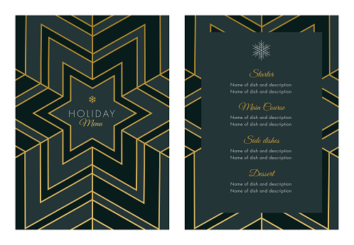 Holidays Menu Template with geometric Snowflake - gettyimageskorea
