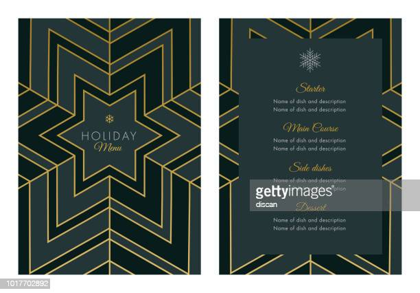 holidays menu template with geometric snowflake - vintage restaurant stock illustrations