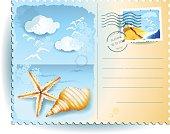 Holidays on the beach, postcard