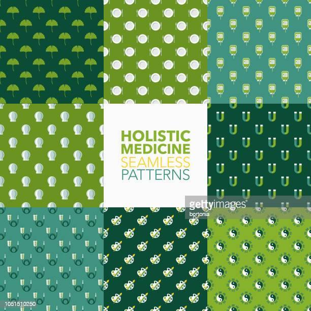 holistic medicine seamless pattern set - fasting activity stock illustrations, clip art, cartoons, & icons