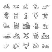 Holland flat icons set