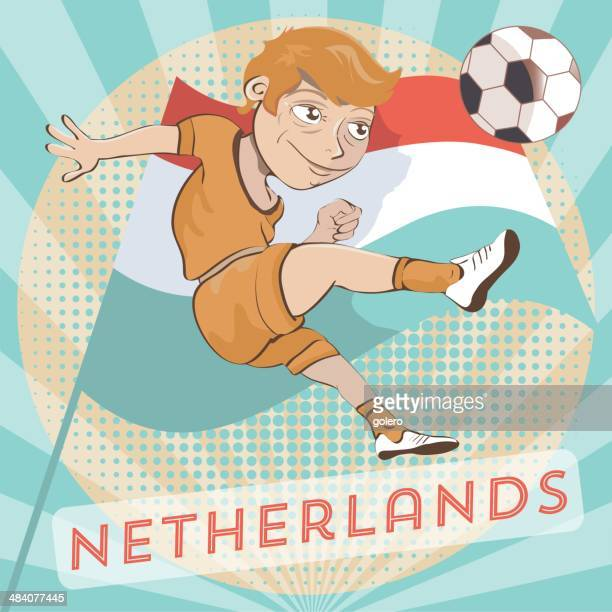holland soccer player - sports organization stock illustrations, clip art, cartoons, & icons