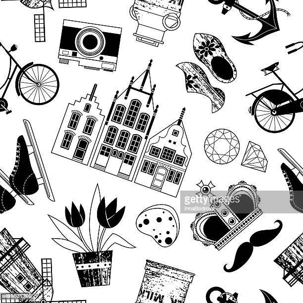 holland symbole pattern. - amsterdam stock illustrations, clip art, cartoons, & icons