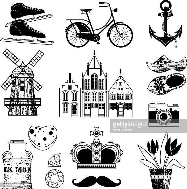 holland. symbols. - amsterdam stock illustrations, clip art, cartoons, & icons