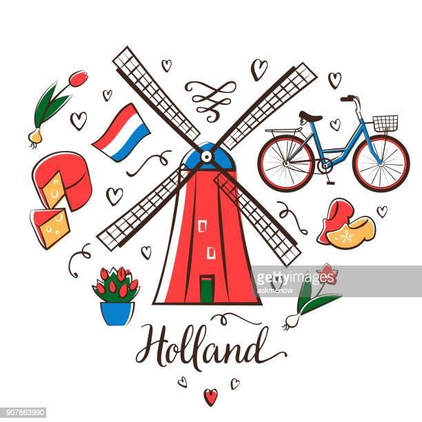 ilustraciones, imágenes clip art, dibujos animados e iconos de stock de holland - molino de viento