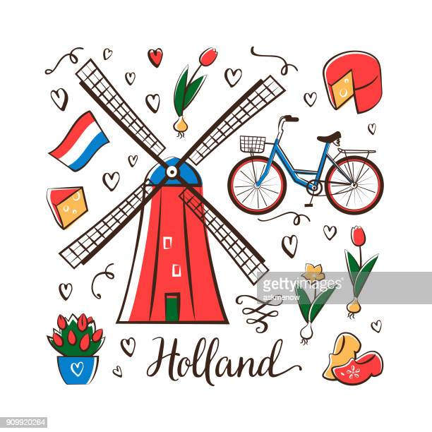 holland - amsterdam stock illustrations, clip art, cartoons, & icons