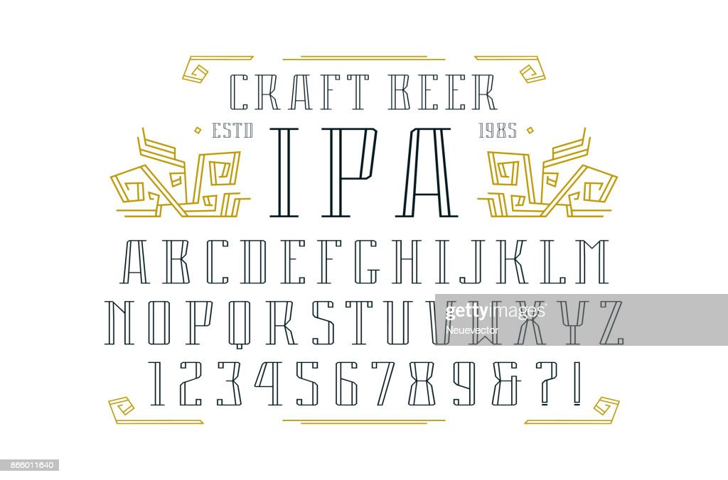 Hollow serif font and ornament