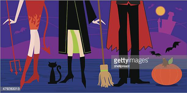 holloween party - stage costume stock illustrations