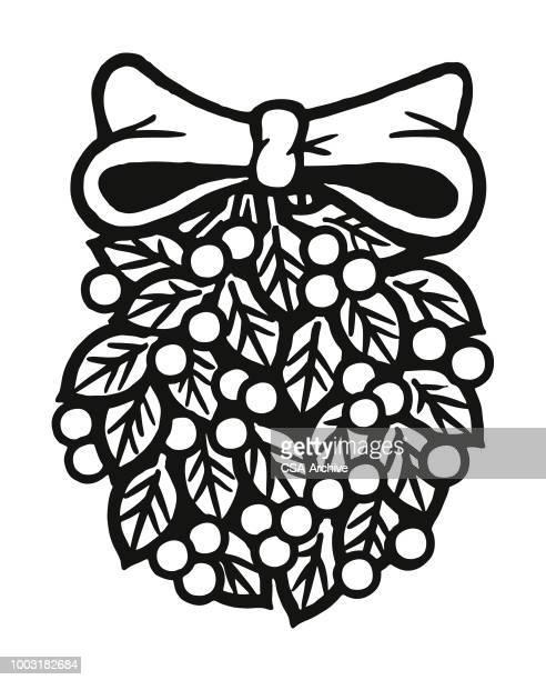 illustrations, cliparts, dessins animés et icônes de holly berry décoration - gui