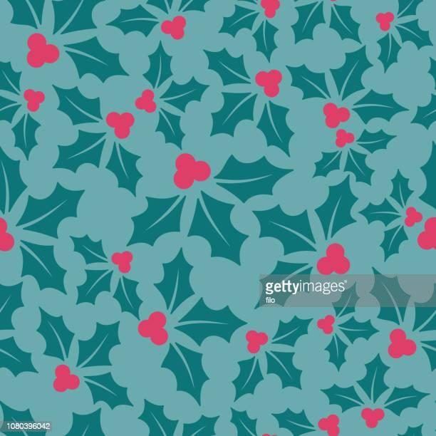 holly berry holiday seamless background - mistletoe stock illustrations