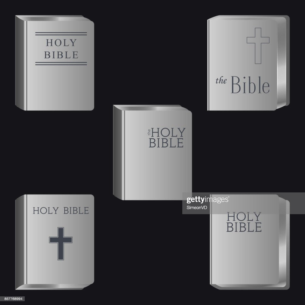 Holly Bible. Book Pictogram. Set Vector Icons Isolated
