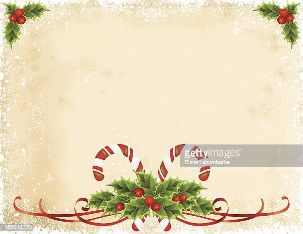 Holly Candy Canes Parchment Background