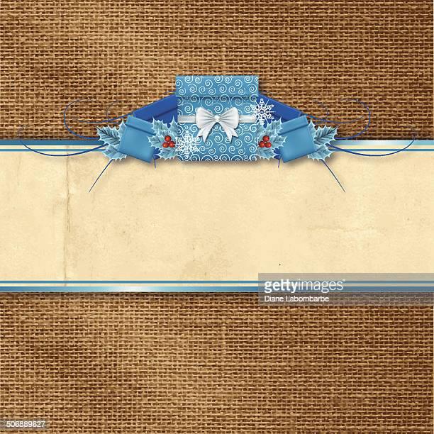 holly クリスマスギフトのバナーの背景に、バーラップ - 荒い麻布点のイラスト素材/クリップアート素材/マンガ素材/アイコン素材