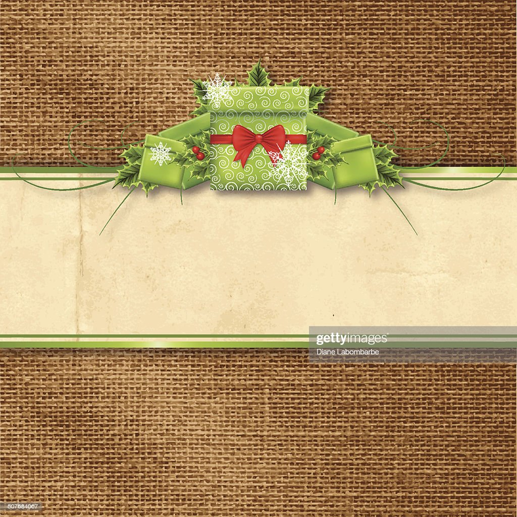 Holly Christmas Gifts Banner On Burlap Background