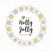 Holly Jolly Christmas card Minimalist style, Wreath, Snowflakes, White Background