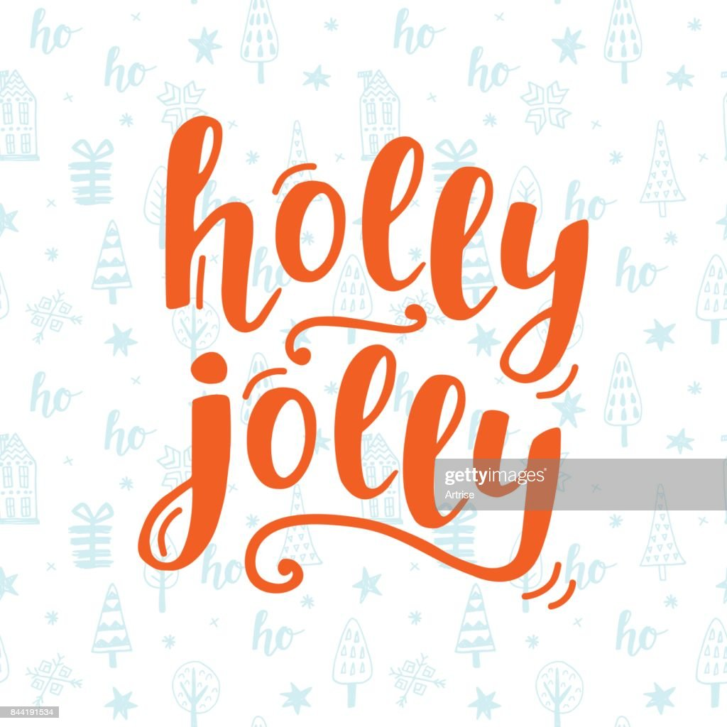 Holly Jolly Christmas greeting card with handwritten lettering